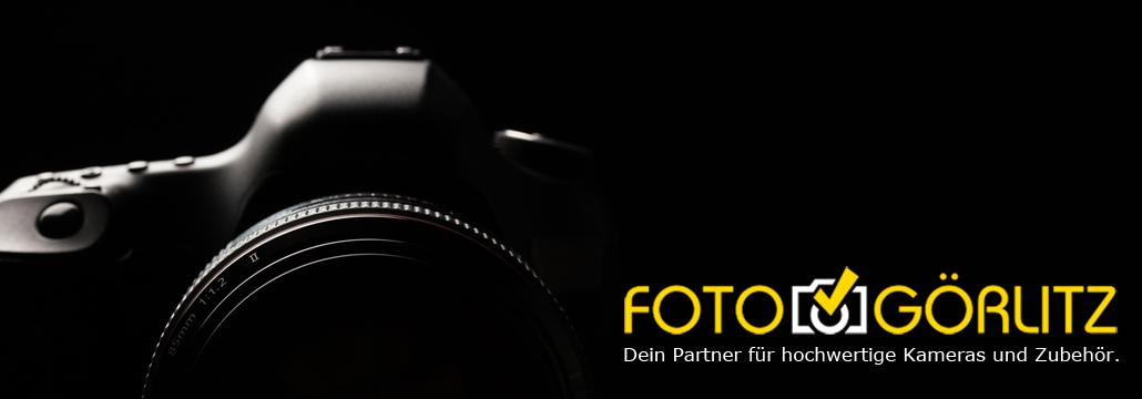 Canon Camera+Objektiv Konturen im Dunkeln mit FOTO-GÖRLITZ Schriftzug und Logo