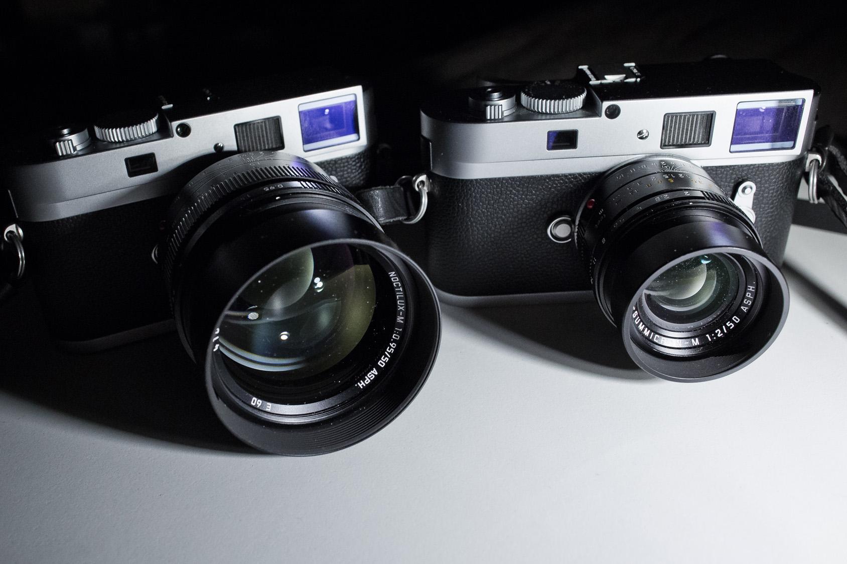 Größenvergleich Monochrom + Noctilux vs. Monochrom + 50mm APO