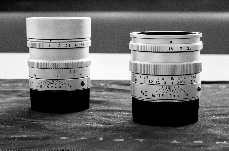 Leica M 50mm 1.4 asph. Rechts: Leica M 50mm 1.4 pre-asph.