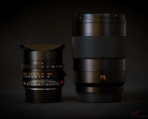 Größenvergleich: Leica M 35mm 1.4 FLE vs. Leica SL 75mm 2.0 Summicron